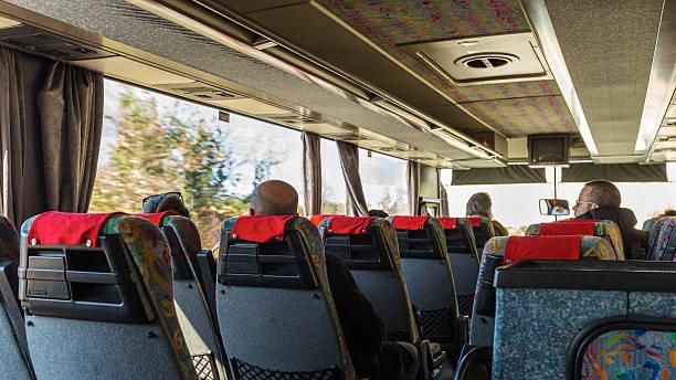 Passengers on Atlas shuttle bus from Dubrovnik airport stock photo