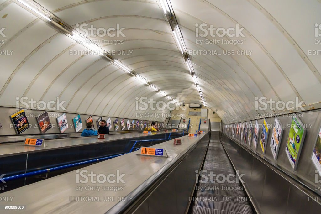 Passengers on escalator at London tube station - Royalty-free Architecture Stock Photo