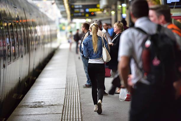 passengers on subway/train station platform - waiting for a train sweden bildbanksfoton och bilder