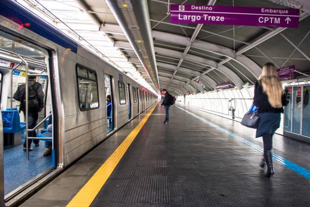 Passengers on the plataform of Santo Amaro station stock photo