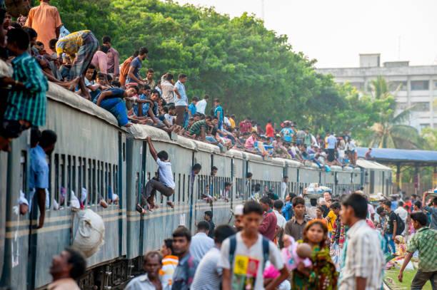 승객 대다/기차, 방글라데시 다카 스톡 사진