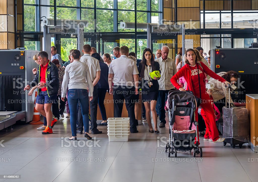Passengers pass the inspection of security service stock photo