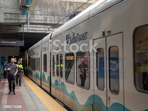 Seattle, WA AUGUST 26, 2018: Passengers set to board the Sound Transit Link light rail train