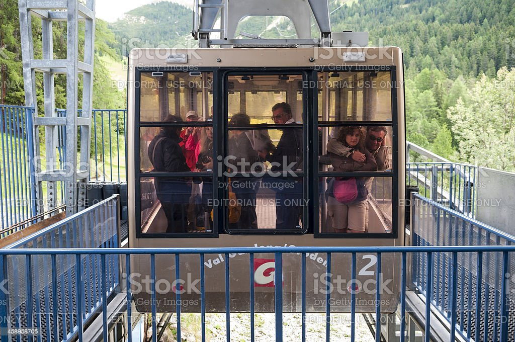 Cable car passengers in the Alps royalty-free stock photo