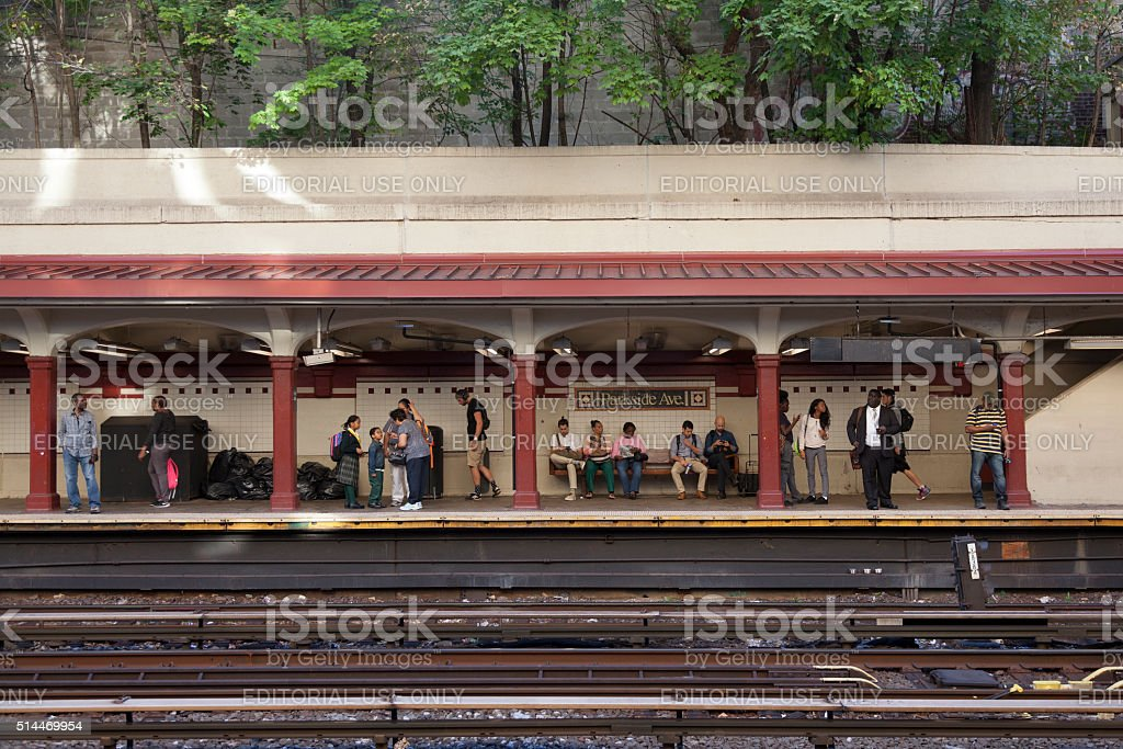 passengers wait for subway train on station parkside avenue i stock photo