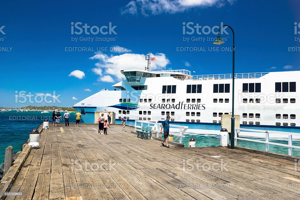 Passengers wait for the Queenscliff to Sorrento ferry stock photo
