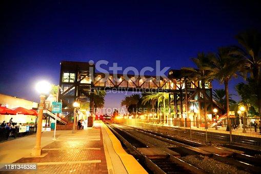 Fullerton, CA, USA - Oct.13.2019: Passengers waiting for train at Fullerton Station.  Fullerton Station located at Fullerton, CA. This station serves by Amtrak and Metrolink train services.
