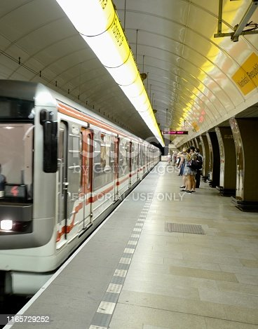 Prague, Czech Republic- June 21, 2019- The Prague Metro is the most used means of transport in Prague.The metro carries around 600 million passengers a year and 40% choose it as their mode of rapid transit. The subway stationed platform is an easy and efficient way to get to various neighborhoods of Prague. Very tourist friendly with modern, clean stations.
