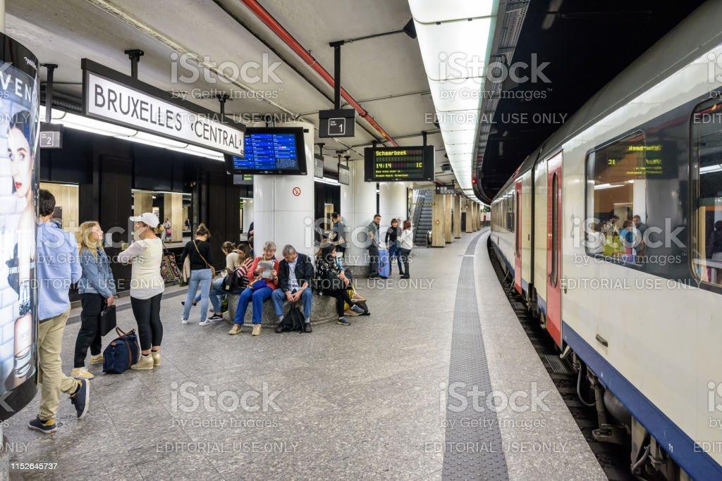 Passengers waiting on an underground platform in Brussels central...