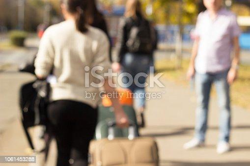 1060957508istockphoto Passengers walking with suitcase 1061453288
