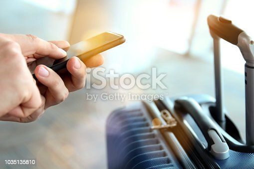 istock Passengers with luggage waiting at the airport/ Passenger using mobile phone 1035135810