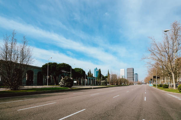 Passeo de la Castellana, a wide boulevard in central Madrid stock photo
