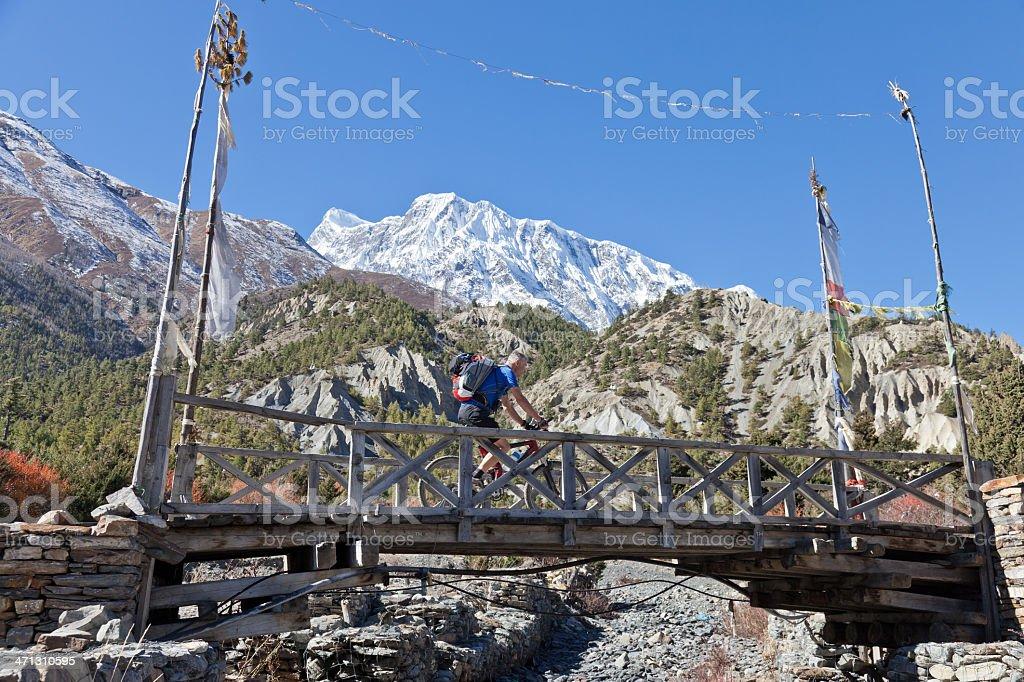 Passing by Annapurna III, Nepal stock photo