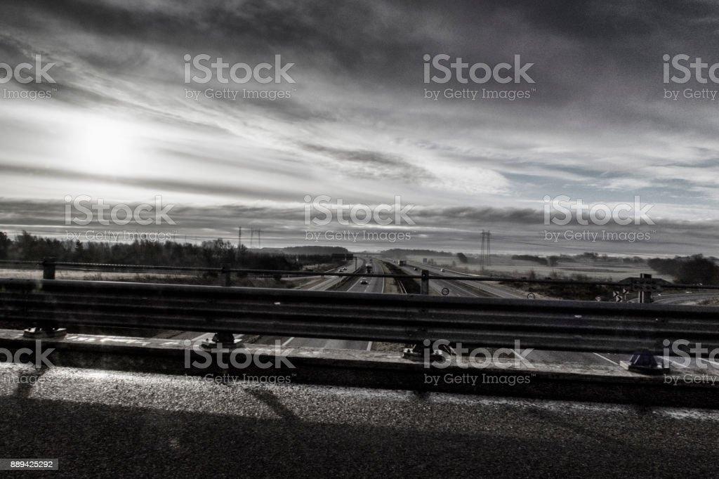 Passing higway on highway bridge stock photo