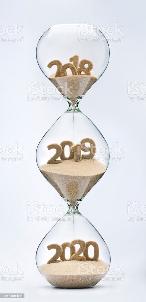 Passing into New Year 2019, 2020 stock photo