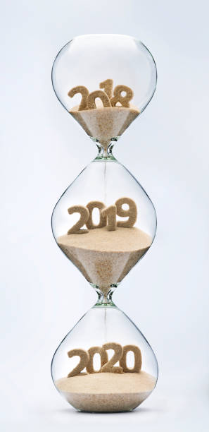 passing into new year 2019, 2020 - timeline visual aid stock photos and pictures