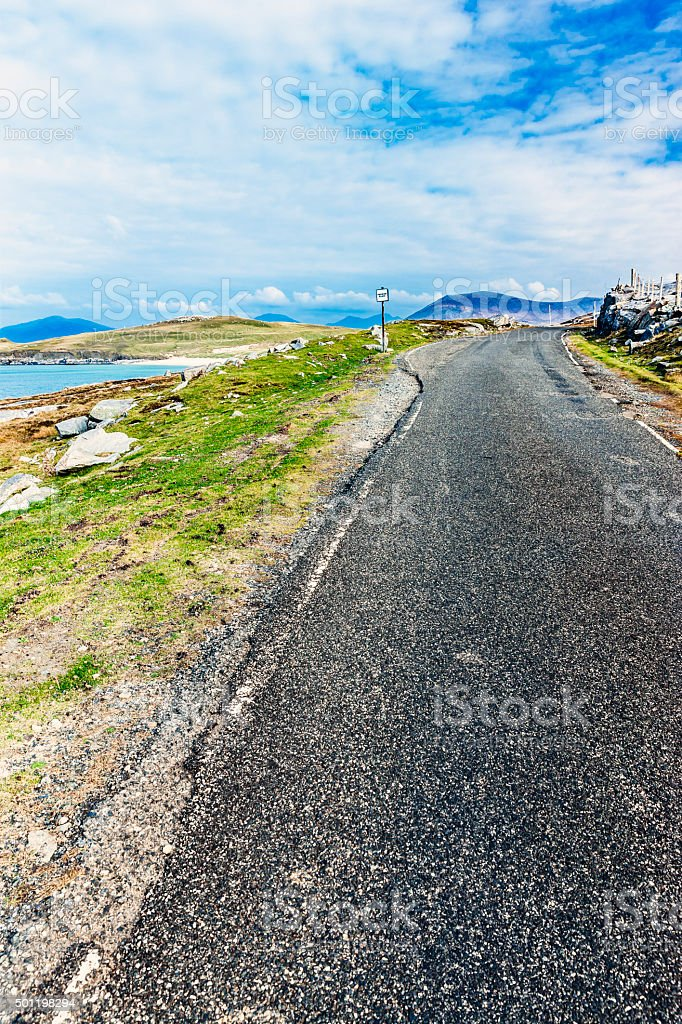 Passing place, Harris style. stock photo