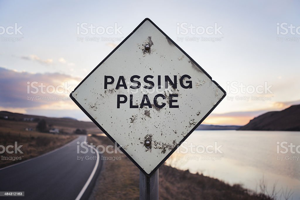 Passing place near Carbost in Isle of Skye, Scotland stock photo