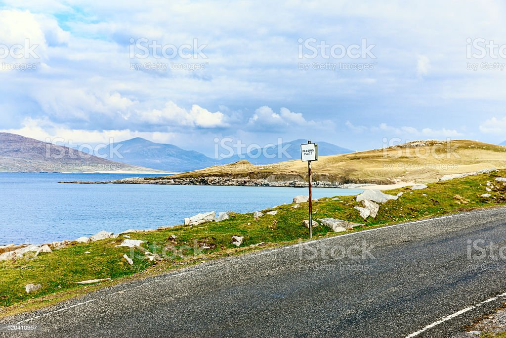 Passing place on single track road, Scotland stock photo