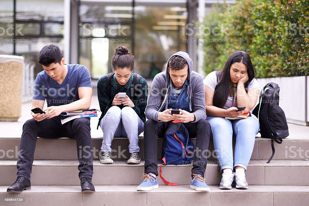 Passing the time between lectures stock photo