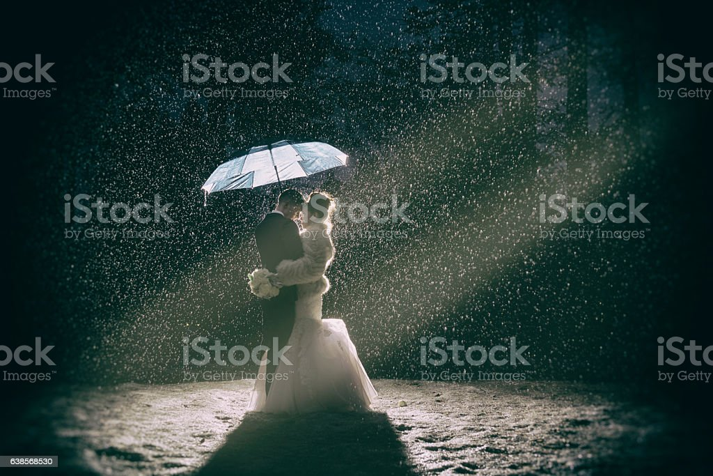 Passion and love in the snow stock photo