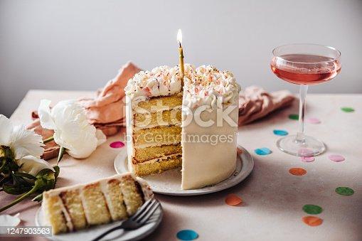 istock Passion fruit birthday cake 1247903563