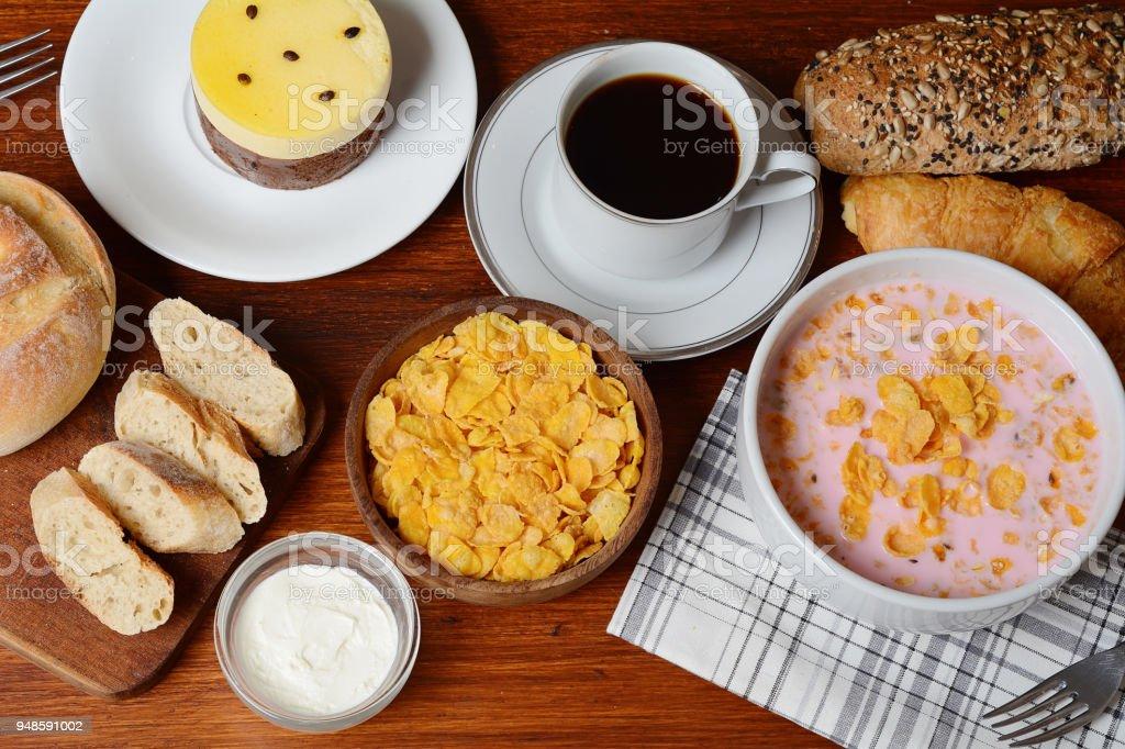 passion fruit cake, toast, coffee. Breakfast stock photo