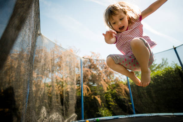 Passion - jumping trampoline stock photo