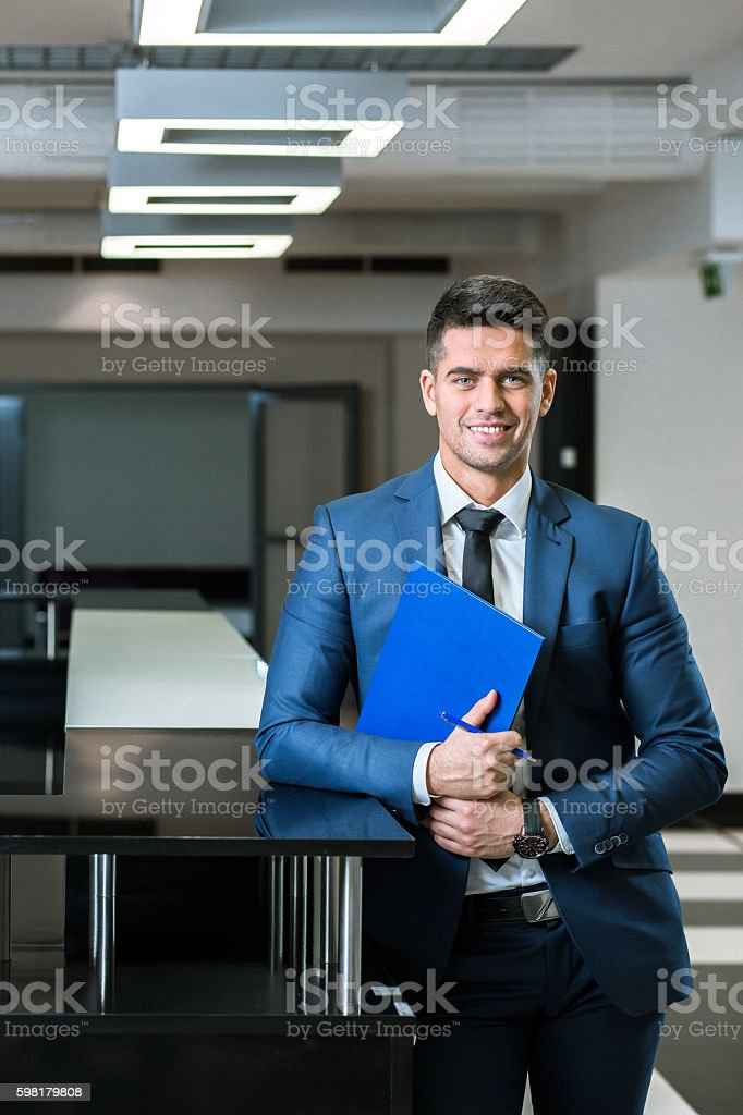 Passionate about his new project mission stock photo