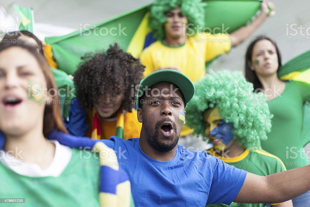Passionate Brazilian Football Fans stock photo
