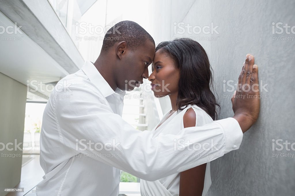 Passionate couple facing each other royalty-free stock photo