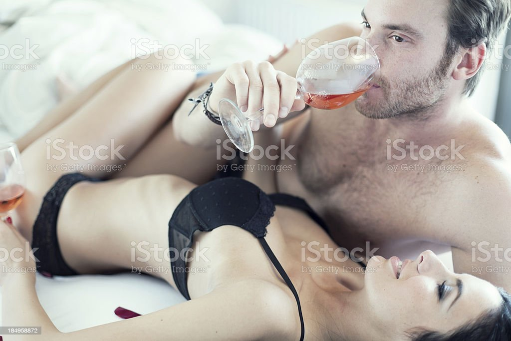 Passionate Couple in bed royalty-free stock photo