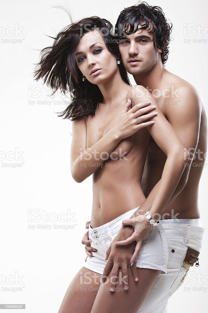 Passionate couple (semi-nude shoot) royalty-free stock photo