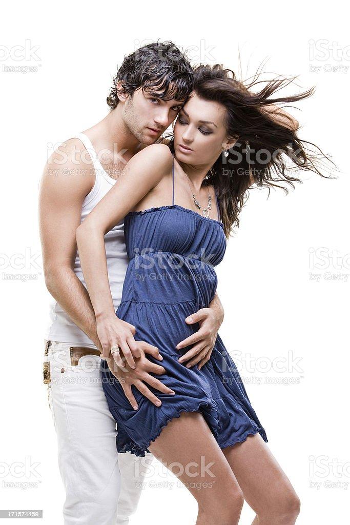Passionate couple (blue & white shoot) royalty-free stock photo