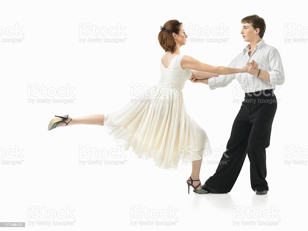 passionate dancing couple on white background royalty-free stock photo