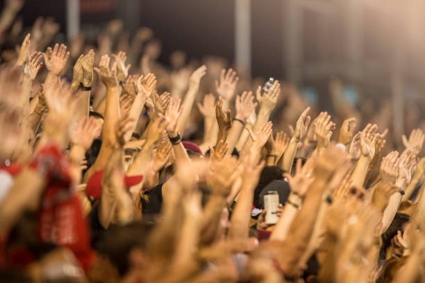 Passionate fans cheer and raise hands at a sporting event stock photo