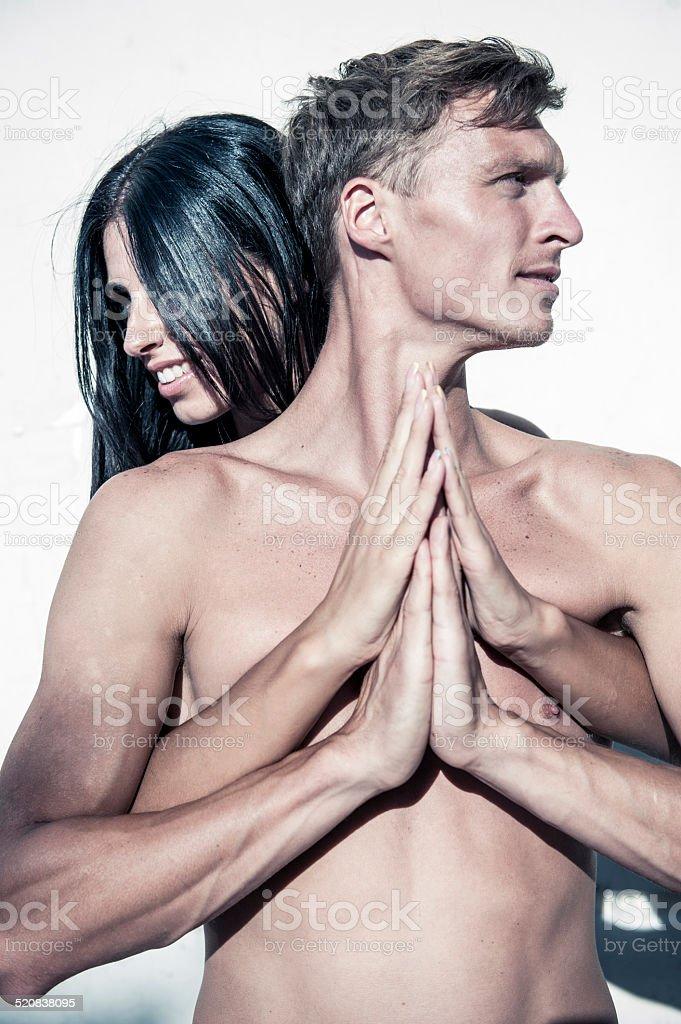 Abbraccio Appassionato Torso Maschile E Femmina Mani Fotografie