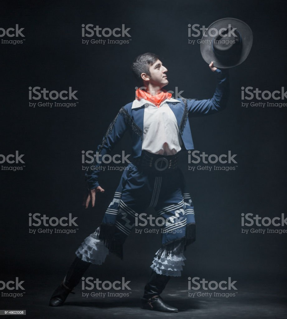 Passionate Male Dancer of Hispanic Dance stock photo