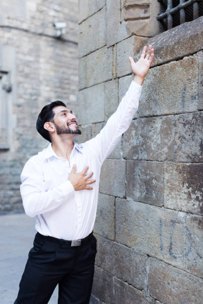 Passionate man singing serenade Handsome passionate man singing serenade love looking at lattice castle window serenading stock pictures, royalty-free photos & images