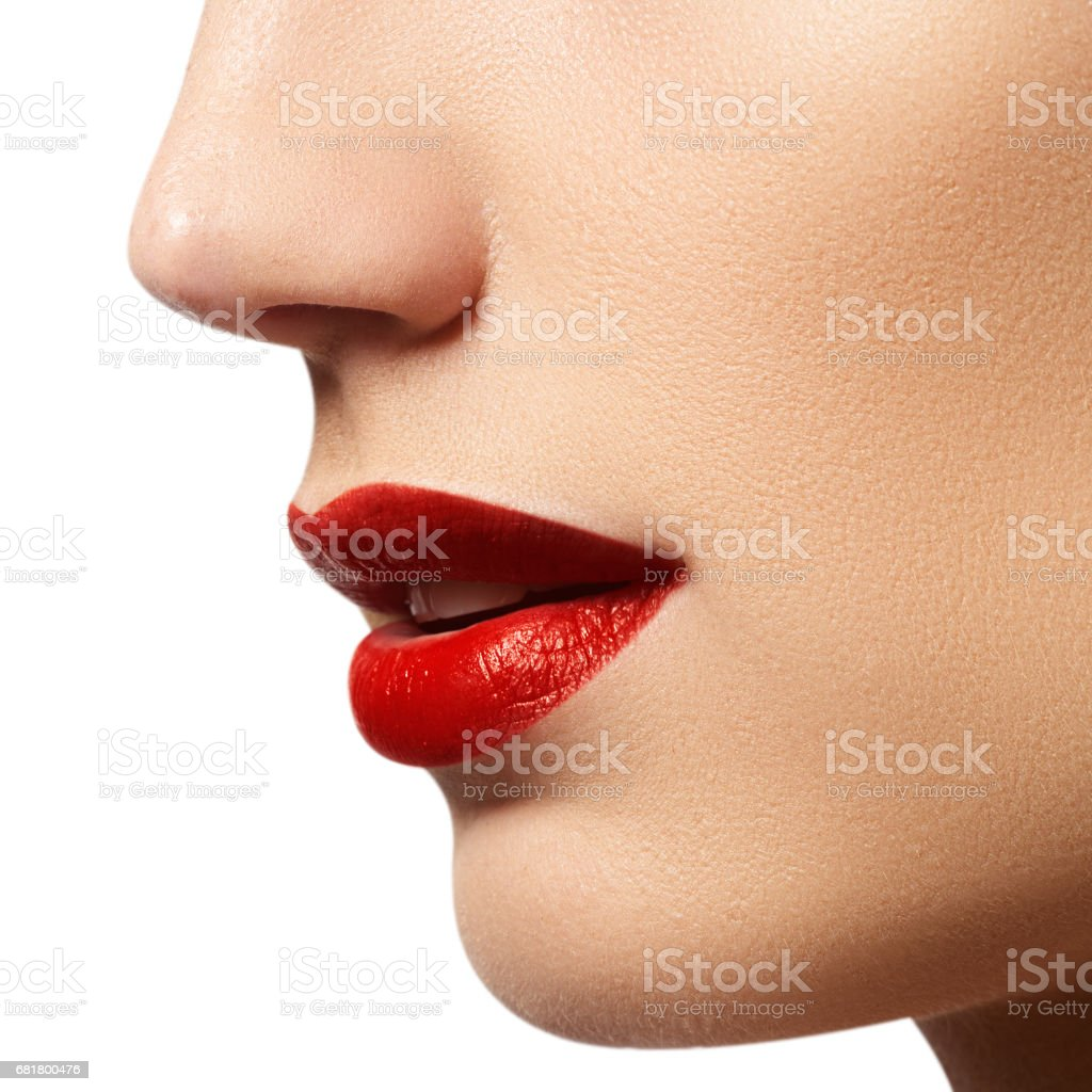 Passionate Red Lips Macro Photography Stock Photo Download Image Now Istock