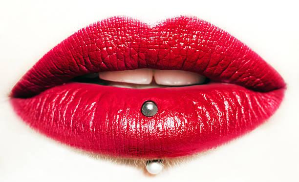 Passionate red lips,macro photography stock photo