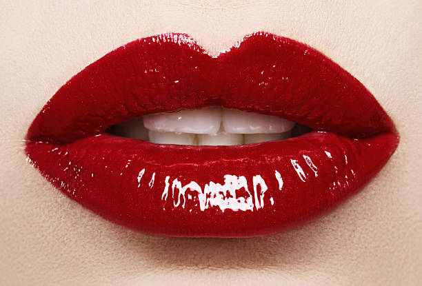passionate red lips,macro photography - human lips stock photos and pictures