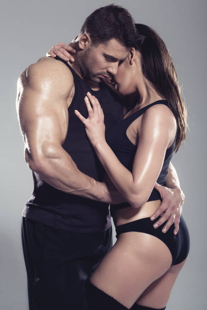 Passionate woman and man stock photo