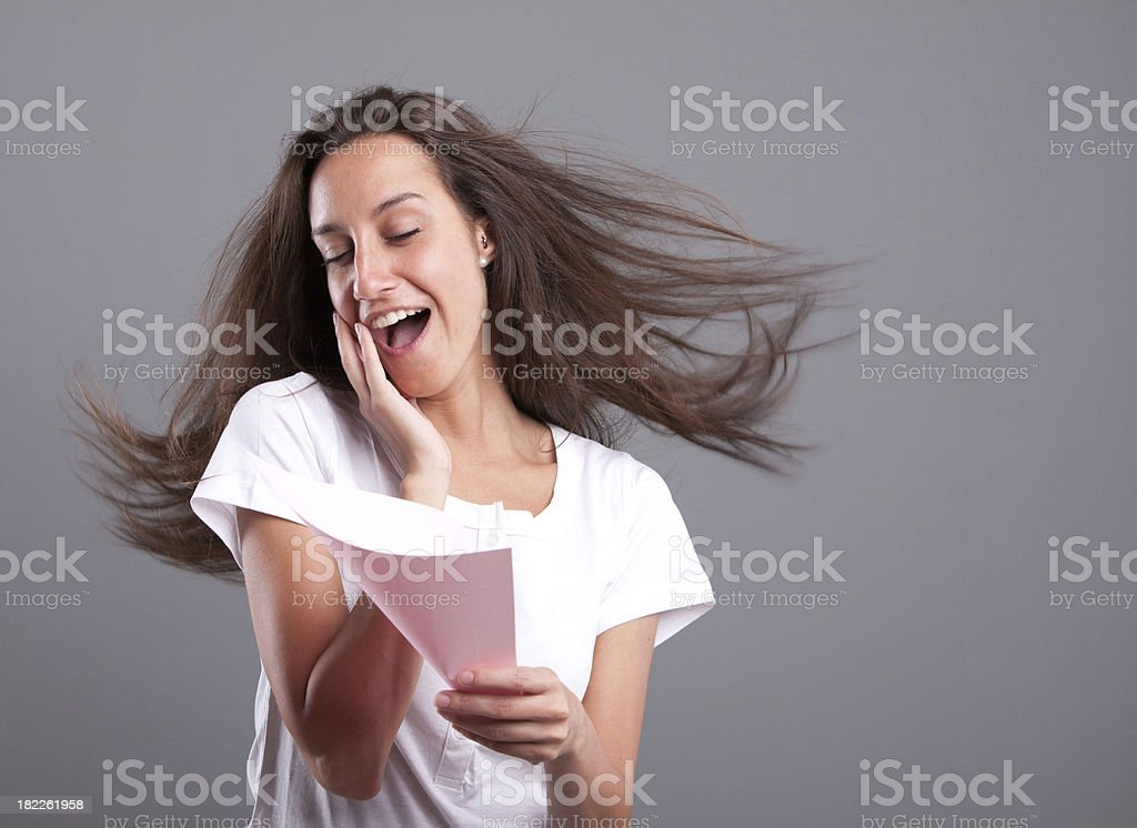 Passionate woman reading love letter royalty-free stock photo