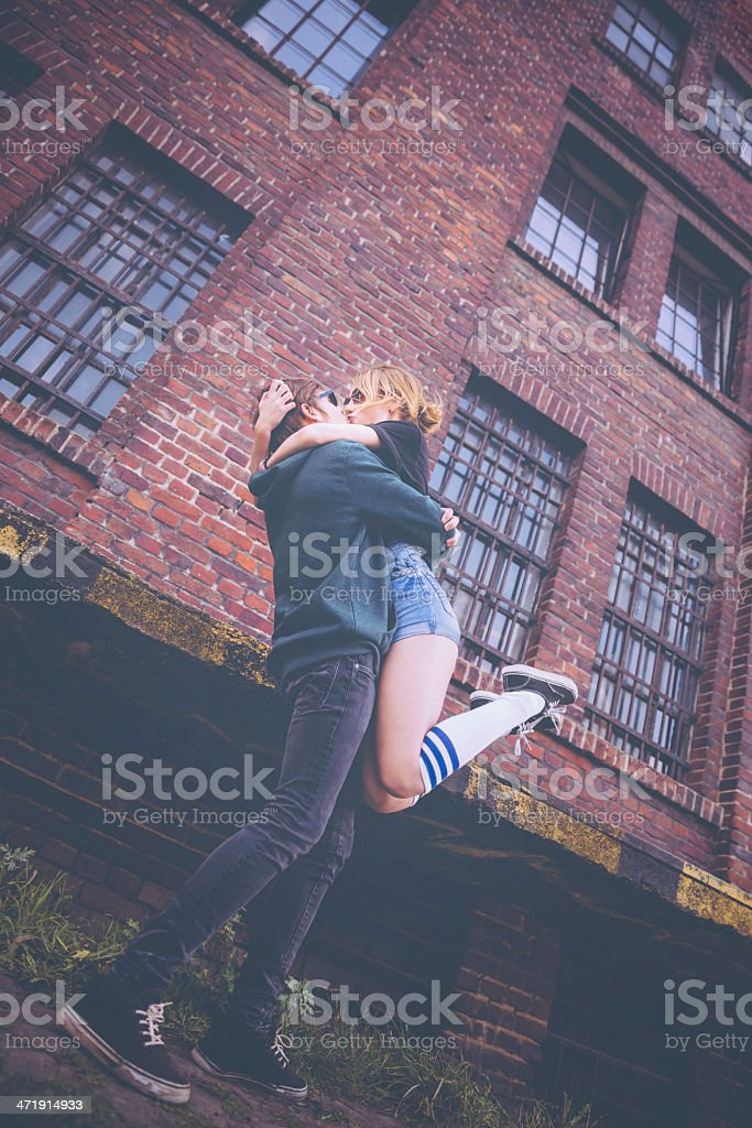 Passionate Young Couple Kissing royalty-free stock photo