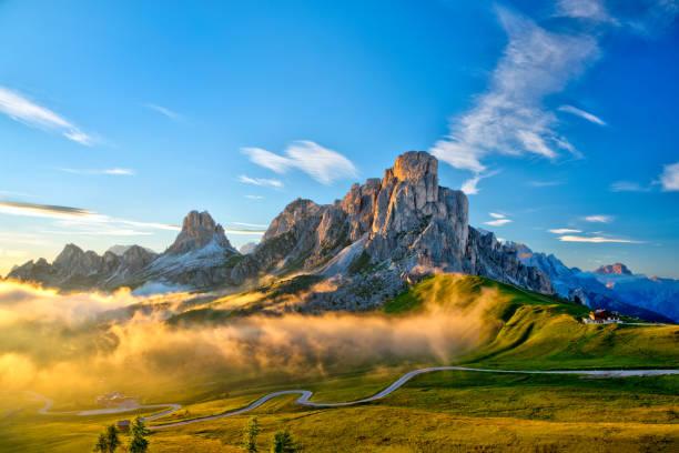 Passo Giau near Cortina d Ampezzo and mount Ra Gusela and Nuvolau, Dolomites, Italy stock photo