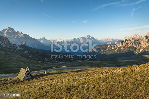 istock Passo Giau near Cortina d Ampezzo and mout Ra Gusela and Nuvolau, Dolomites, Italy landscape 1214935488