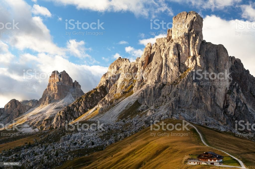 Passo Giau near Cortina d Ampezzo and mout Ra Gusela stock photo