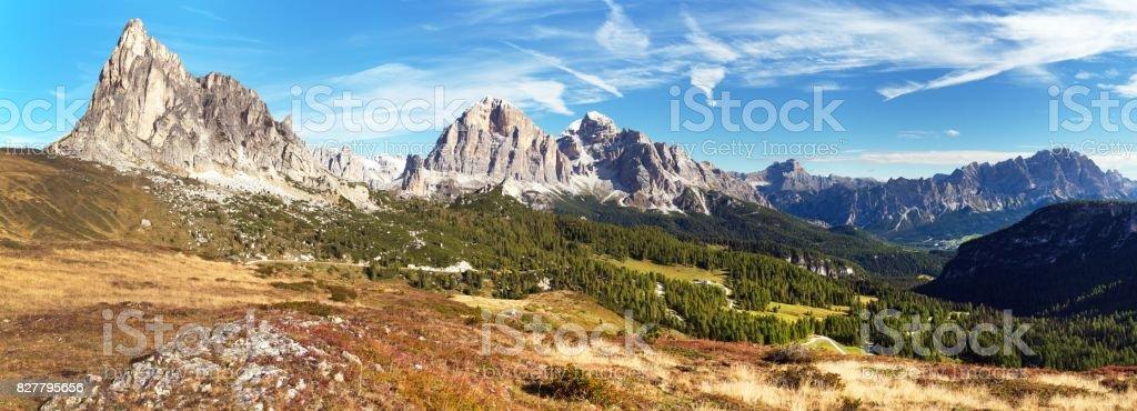 passo Giau to mount Ra Gusela and Tofana or Tofano stock photo