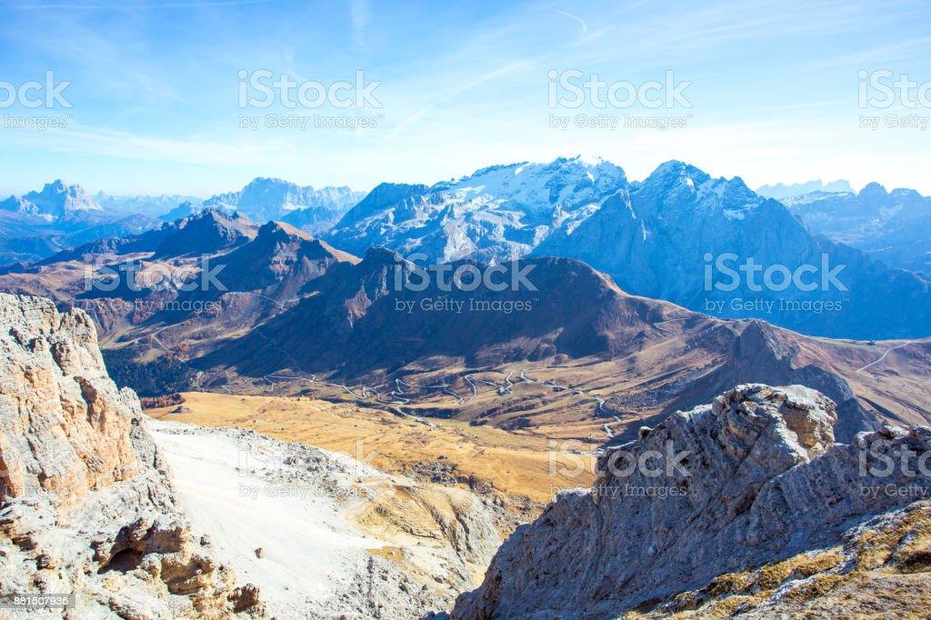 Passo Pordoi Looking From Terrazza Delle Dolomiti Stock